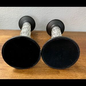 Vintage Accents - Crystal/Black Metal Pair Of Candle Stick Holders